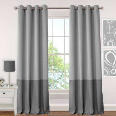 Blackout Juvenile 95 in. Teen or Tween Blackout Room Darkening Grommet Window Curtain Drape Panel in Gray
