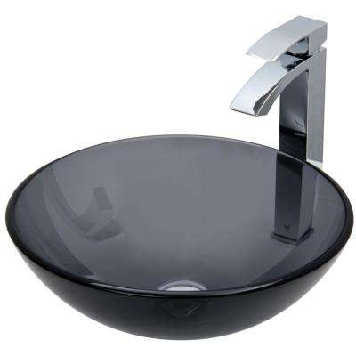 Glass Vessel Sink in Sheer Black with Faucet Set in Chrome