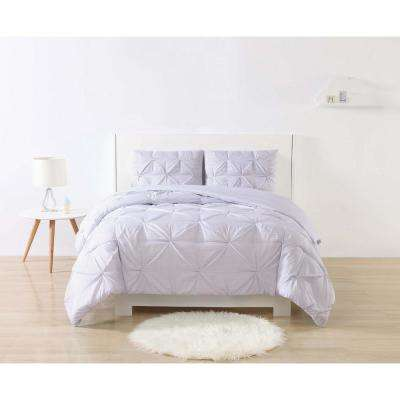 Anytime Stripe Pinch Pleat Purple Twin Extra Long Comforter Set