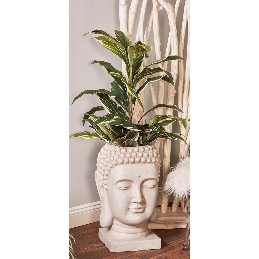 24 in. x 14 in. White Fiber Clay Buddha Head Planter