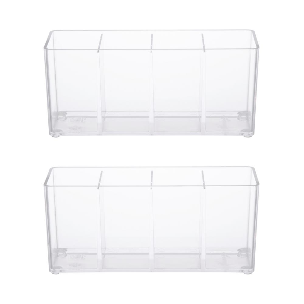 Kenney Bathroom Countertop Organizer and Lid, 4 Compartments in Clear (Set of 2)