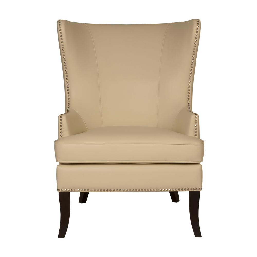 Home Decorators Collection Moore Ivory Bonded Leather Wing Back Accent Chair  sc 1 st  Home Depot & Home Decorators Collection Moore Ivory Bonded Leather Wing Back ...