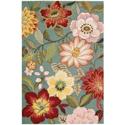 Spring Blossoms Aqua 5 ft. x 7 ft. 6 in. Area Rug
