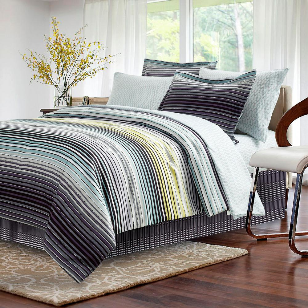Brown Grey Strata Dark 8 Piece Charcoal Queen Bed In Bag Set