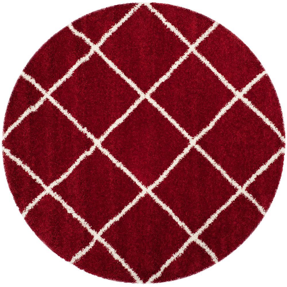 Safavieh Hudson Shag Red/Ivory 7 ft. x 7 ft. Round Area Rug