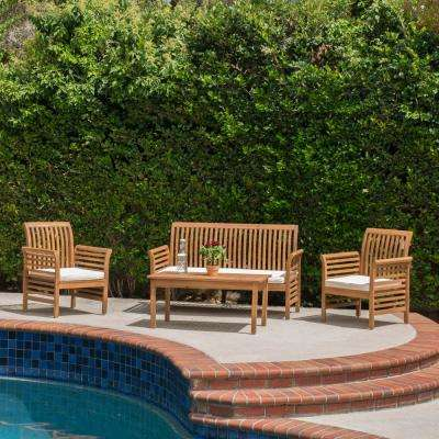Deamond Brown 4-Piece Wood Patio Conversation Set with Beige Cushions