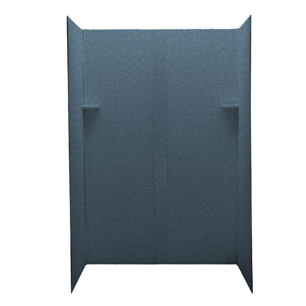 Swanstone Pebble 32 in. x 48 in. x 72 in. Five Piece Easy Up Adhesive Shower Wall Kit in Wild Indigo-DISCONTINUED