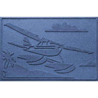Navy 24 in. x 36 in. Sea Plane Polypropylene Door Mat