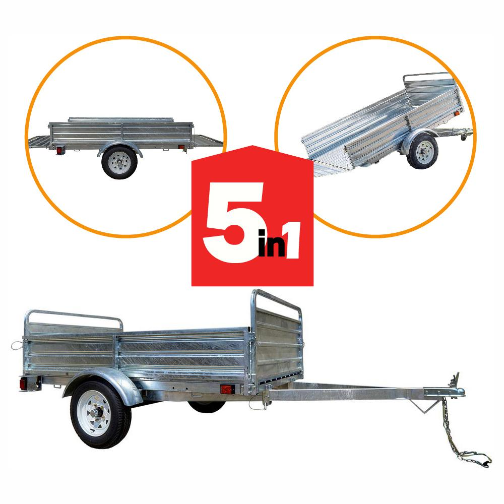 Detail K2 1639 lbs. Payload Capacity 4.5 ft. x 7.5 ft. Galvanized Steel Utility Trailer with Bed Tilt and Collapsing Ends