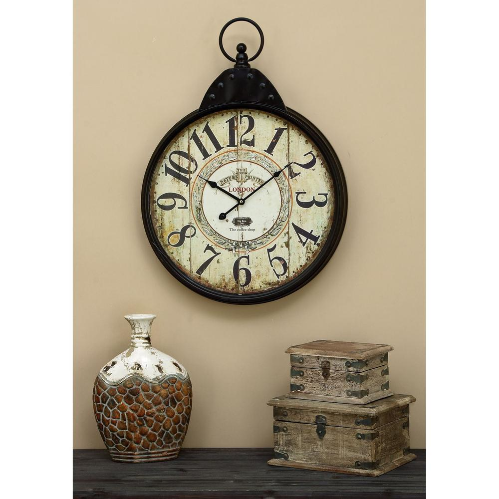 28 in. x 20 in. Metal Wall Clock