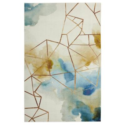 Mohawk Home Illusion Water Beige 10 ft. x 14 ft. Abstract Area Rug, Cream & Blue