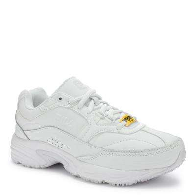 Memory Workshift Women Size 8 Wide White Leather/Synthetic Soft Toe Work Shoe