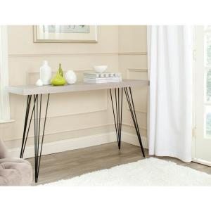 Wolcott 55 in. Gray/Black Standard Rectangle Wood Console Table