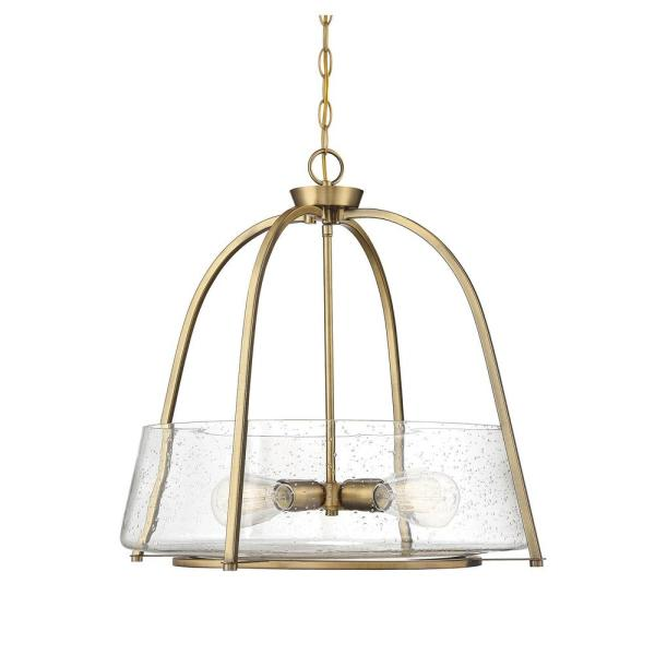 4-Light Warm Brass Pendant with Clear Seeded Glass
