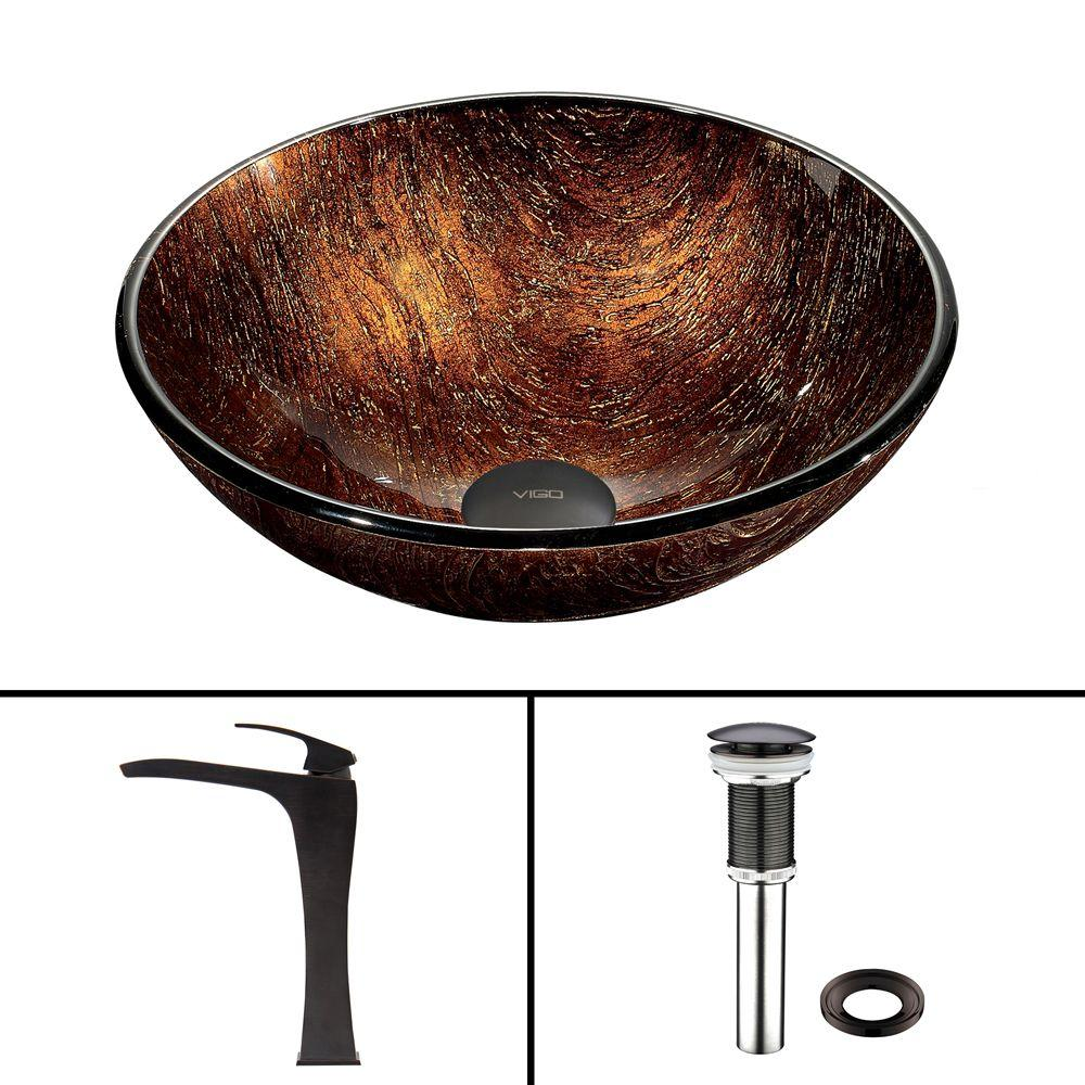 Glass Vessel Sink in Kenyan Twilight and Blackstonian Faucet Set in