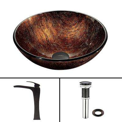 Glass Vessel Sink in Kenyan Twilight and Blackstonian Faucet Set in Antique Rubbed Bronze