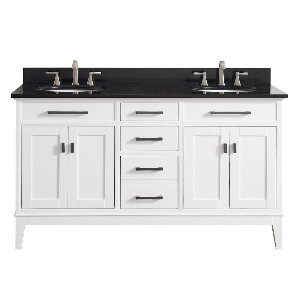 Avanity Madison 61 in. W x 22 in. D x 35 in. H Vanity in White with Granite Vanity Top in Black with White Basin
