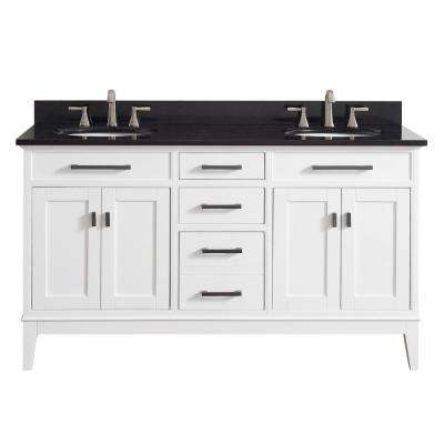 Madison 61 in. W x 22 in. D x 35 in. H Vanity in White with Granite Vanity Top in Black with White Basin