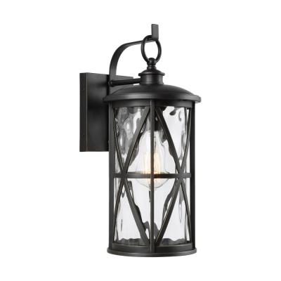 Millbrooke Small 7 in. W 1-Light Antique Bronze Outdoor Wall Mount Lantern with Water Glass