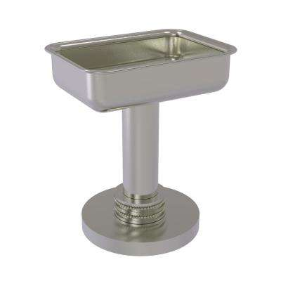 Vanity Top Soap Dish with Dotted Accents in Satin Nickel