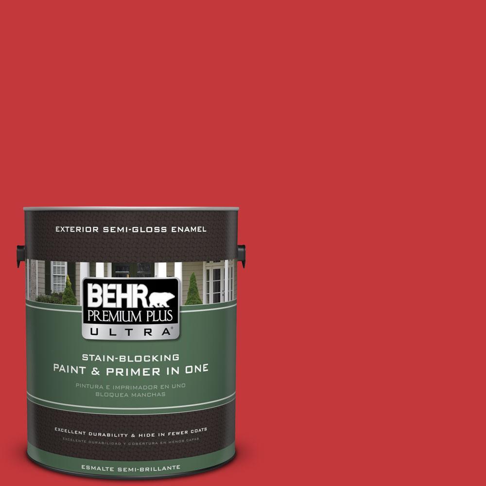 BEHR Premium Plus Ultra 1-gal. #150B-7 Poinsettia Semi-Gloss Enamel Exterior Paint