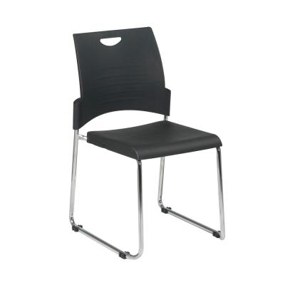 Black Straight Leg Stack Chair with Plastic Seat and Back (2 Pack)