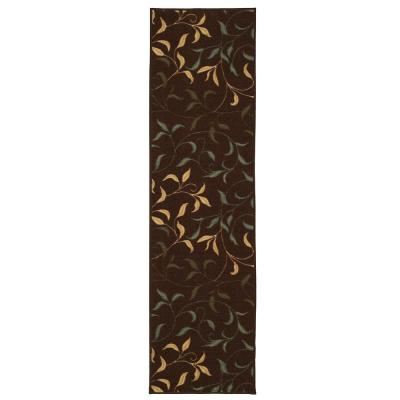 Ottohome Collection Contemporary Leaves Design Chocolate 2 ft. x 7 ft. Runner Rug