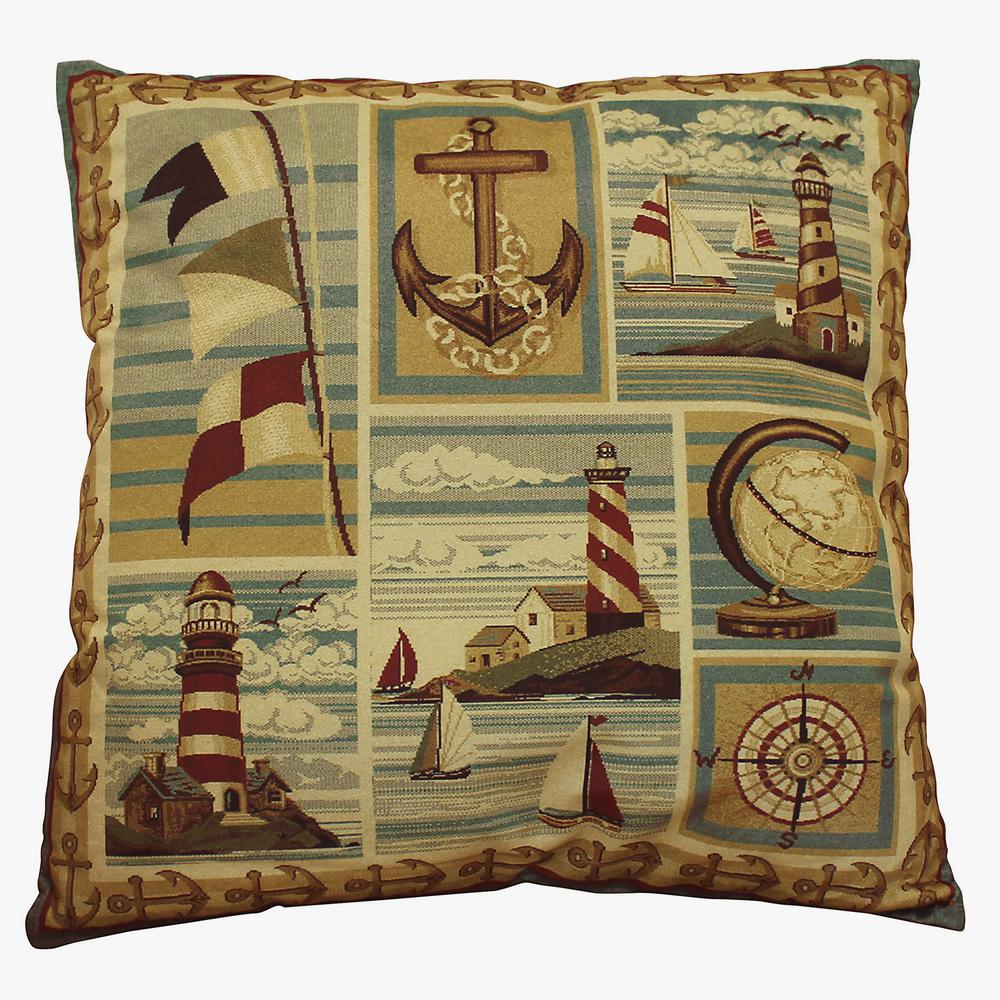 Bellagio Nautical 18 in. x 18 in. Square Accent Pillow