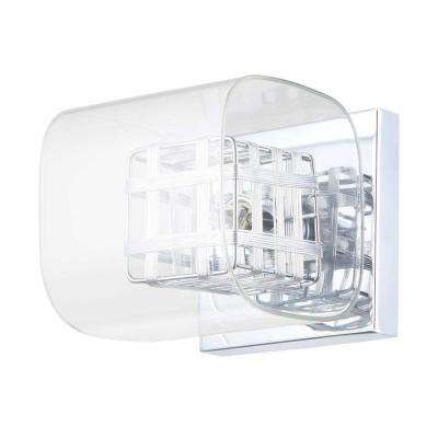Miami Collection 1-Light Chrome Wall Fixture with Clear Glass Shade