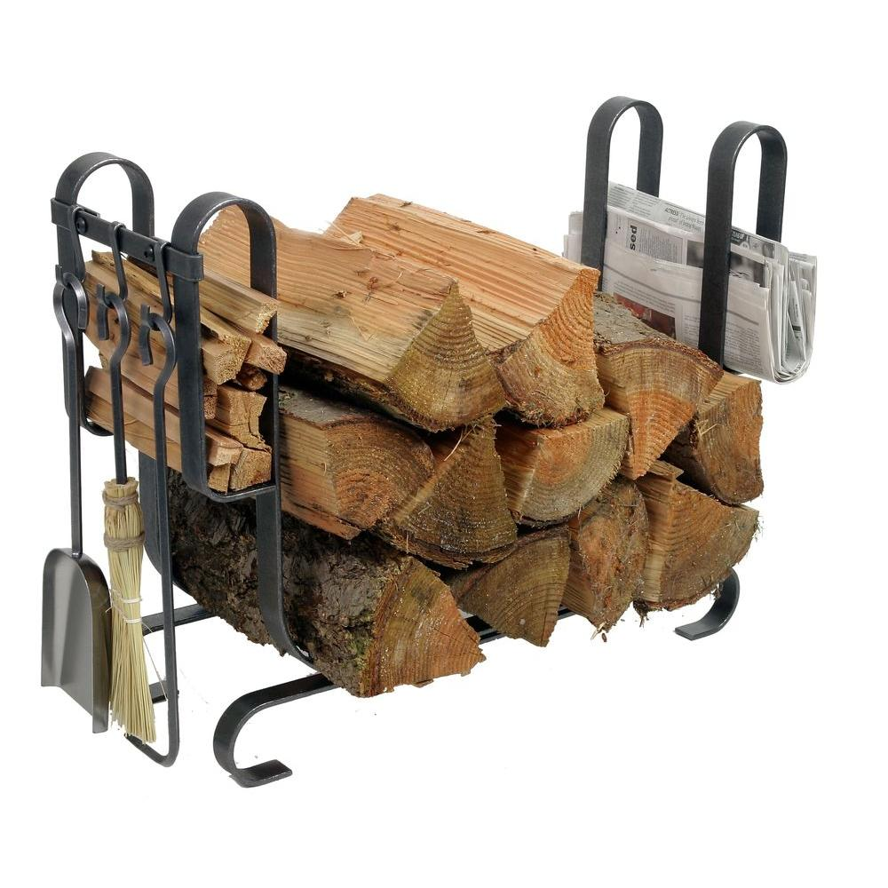 2.6 ft. Handcrafted Large Modern Firewood Rack with Tools Hammered Steel