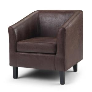 Prime Simpli Home Merlow 30 In Distressed Brown Faux Air Leather Pabps2019 Chair Design Images Pabps2019Com