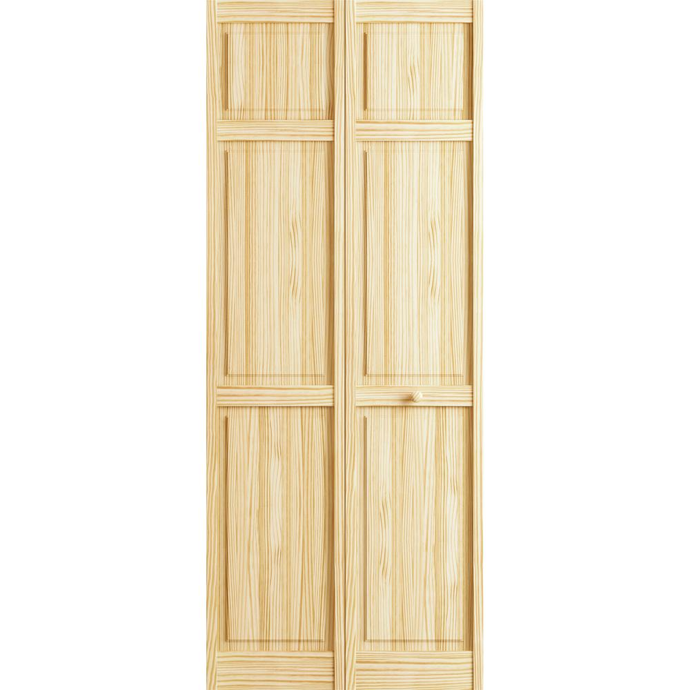 Veranda 30 In. X 78 In. Raw 6 Panel Pine Interior Closet Bi