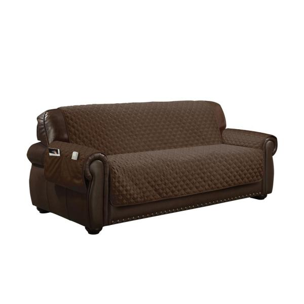 Wallace Water Resistant Chocolate Fit Polyester Fit Sofa Slip Cover