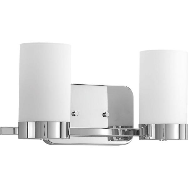Elevate Collection 2-Light Polished Chrome Bathroom Vanity Light with Glass Shades