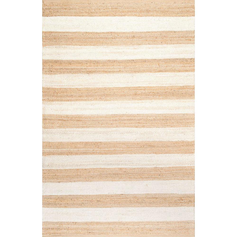 Flatweave Alisia Stripes Jute Off White 3 ft. x 5 ft. Area Rug