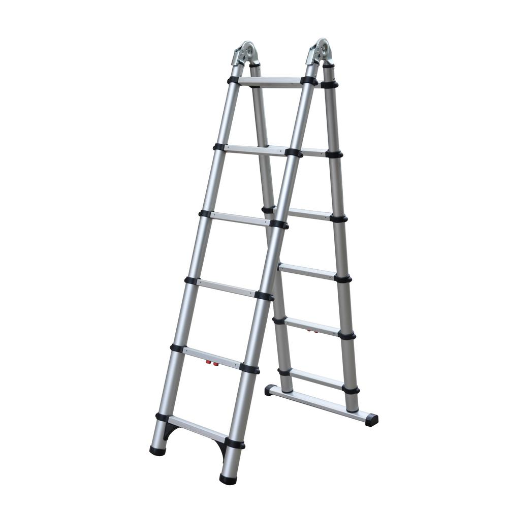 Telesteps 6 ft. A-Frame and 12 ft. Extension Aluminum Telescoping Extension OSHA Compliant Combination Ladder