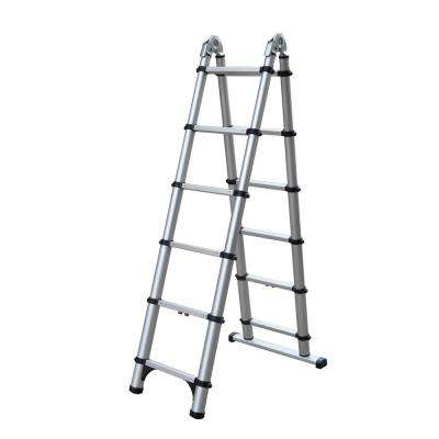 6 ft. A-Frame and 12 ft. Extension Aluminum Telescoping Extension OSHA Compliant Combination Ladder