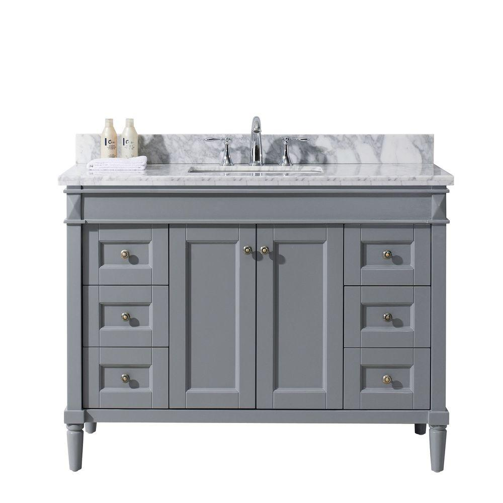 Virtu USA Tiffany 48 In. W X 22 In. D Vanity In Grey With