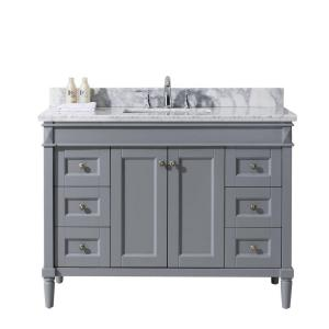 Virtu USA Tiffany 48 inch W x 22 inch D Vanity in Grey with Marble Vanity Top in White with Square White Basin by Virtu USA