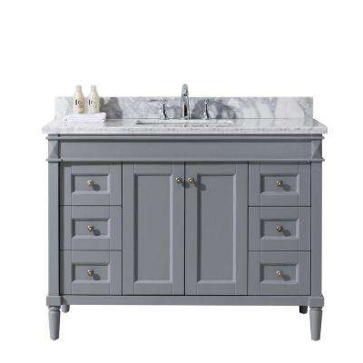 Tiffany 48 in. W x 22 in. D Vanity in Grey with Marble Vanity Top in White with Square White Basin
