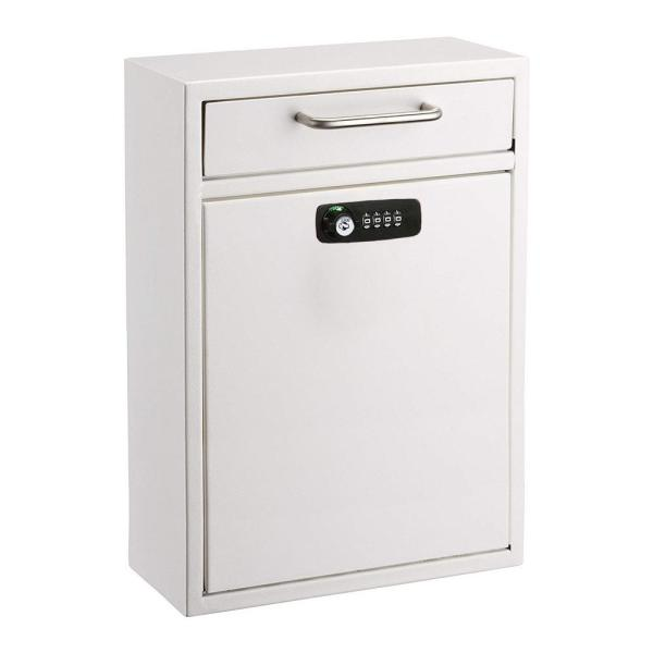 White Large Drop Box Wall Mounted Locking Mail Box with Key and Combination lock