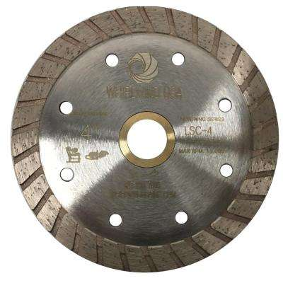 4 in. Turbo Rim Diamond Blade for Dry or Wet Cutting Concrete, Stone, Brick and Masonry