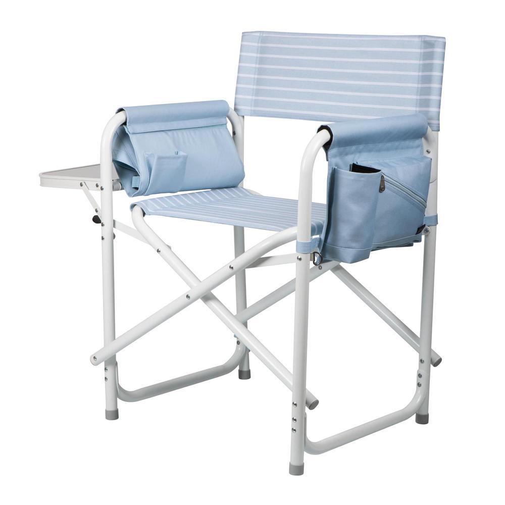Mod Denim Stripe Outdoor Directors Folding Chair