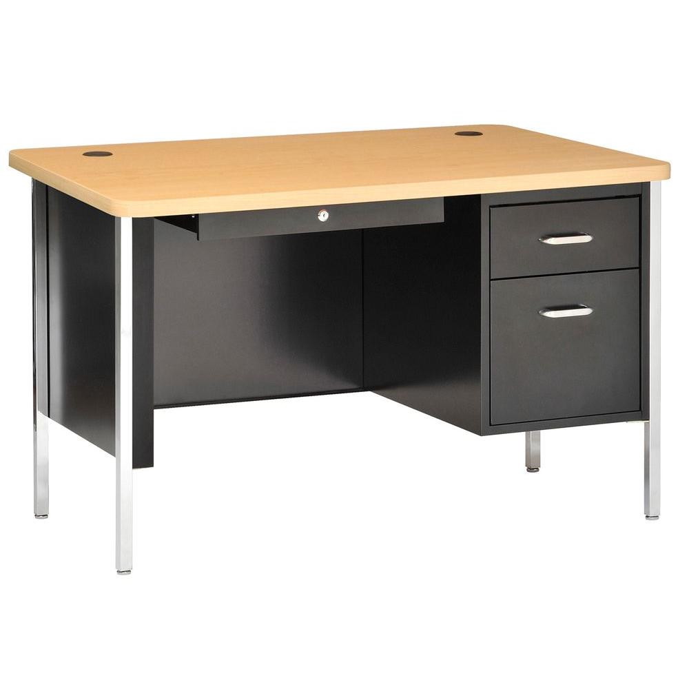 Sandusky 600 Series 29.5 in H. x 48 in. W x 30 in. D Single Pedestal Steel Desk in Black/Maple