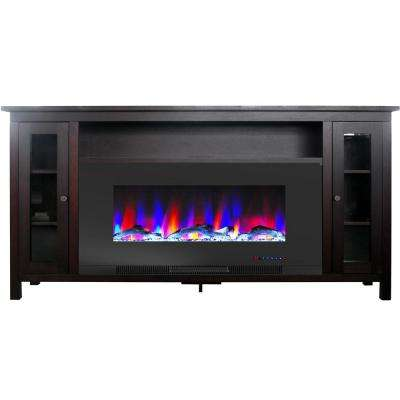 Somerset 70 in. Electric Fireplace TV Stand in Mahogany with Multi-Color LED Flames