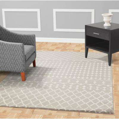 Jasmin Collection Moroccan Trellis Design Gray and Ivory 5 ft. x 7 ft. Area Rug