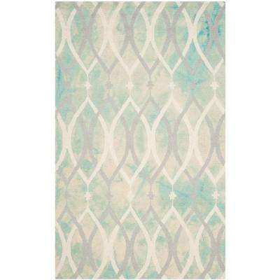 Dip Dye Green/Ivory Gray 5 ft. x 8 ft. Area Rug
