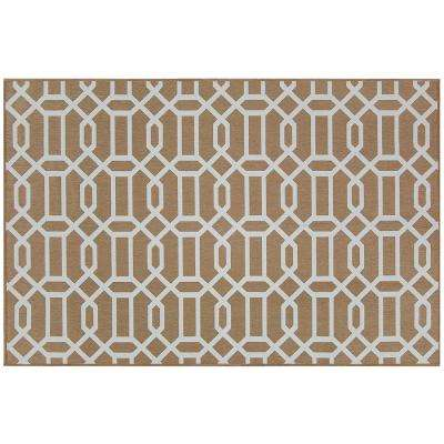 Washable Modern Fretwork Rich Tan 3 ft. x 5 ft. Stain Resistant Accent Rug