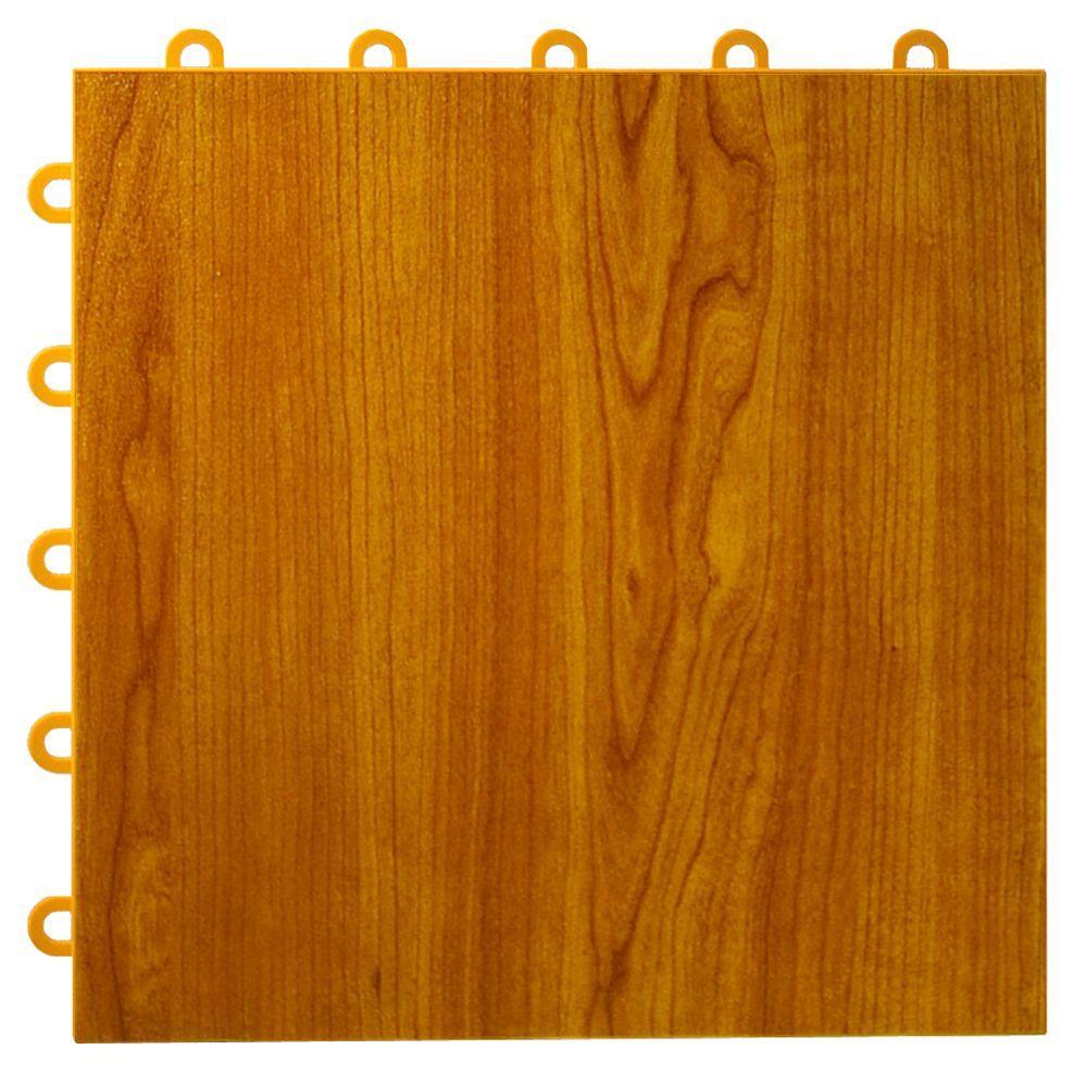 Max Tile 12 in. x 12 in. x 5/8 in. Walnut Vinyl Interlocking Raised Modular Floor Tile (Case of 26)