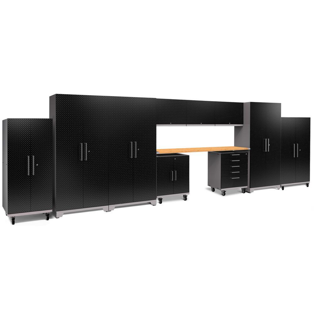 Performance Plus Diamond Plate 2.0 80 in. H x 253 in. W x 24 in. D Garage Cabinet Set in Black (11-Piece)